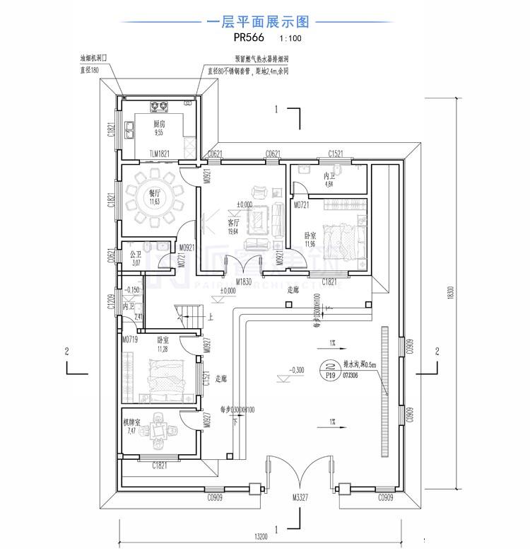 中式别墅外观效果图,pr566一层平面图.jpg