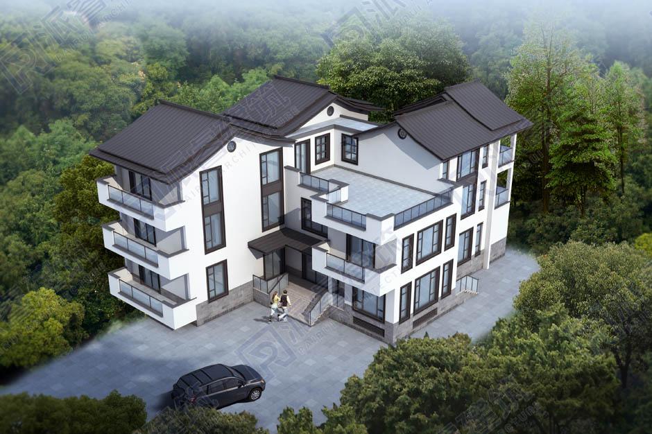 L0141 新中式三层小别墅效果图