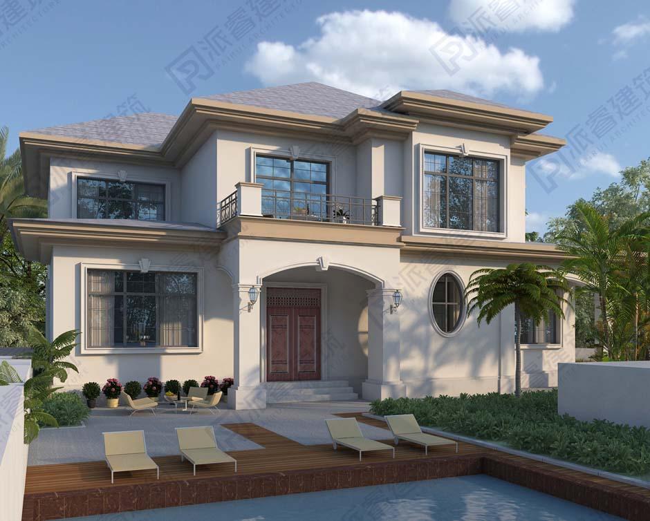 农村二层小别墅设计图纸开间16米*进深13米带堂屋和泳池,优雅有品位-PR552