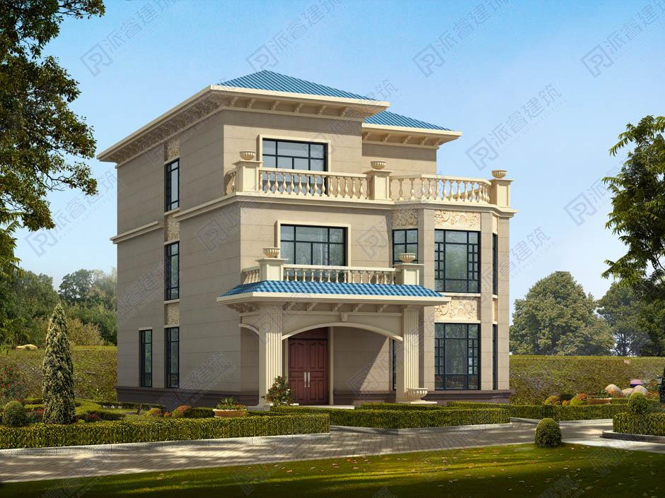 PR269-带落地窗的农村三层房屋设计图纸_八角楼别墅造型 采光好