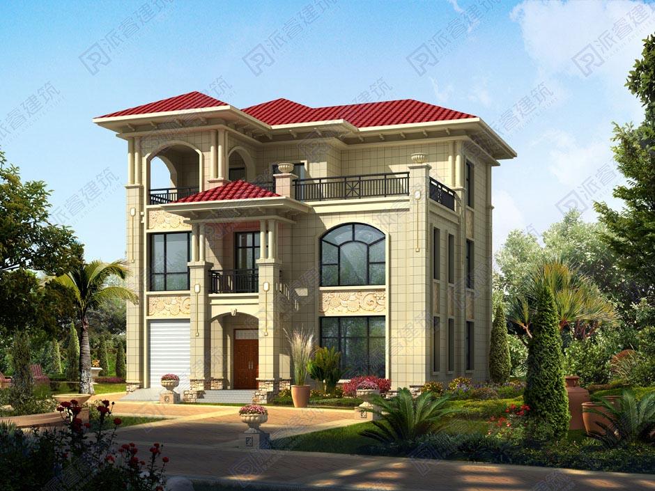 150平农村自建三层简欧复式楼设计图带中堂和车库,实现你的露台梦-PR218