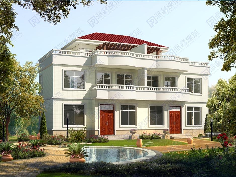 PR203 三层带大露台兄弟双拼别墅设计全套图纸大全,派睿建筑