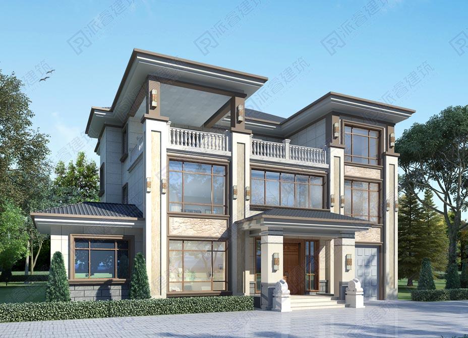 PR558-18米*15米农村自建房设计图三层带电梯和车库|新中式别墅,外观对称