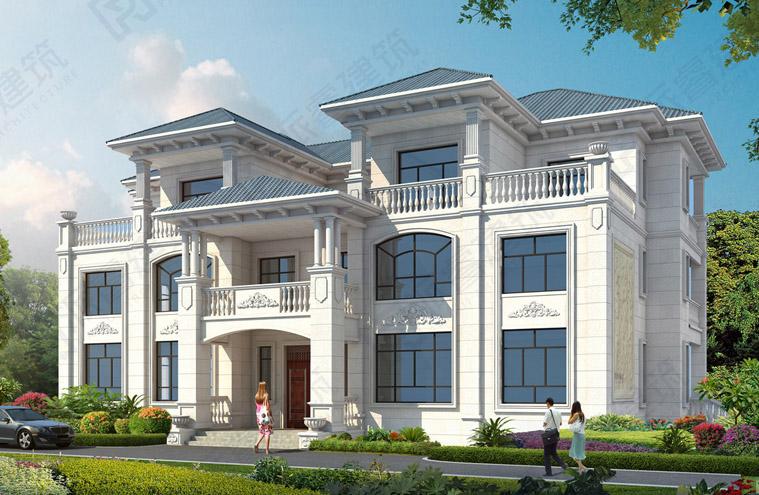 PR551-280平农村自建三层豪华双拼别墅设计图纸,一道气派的风景线
