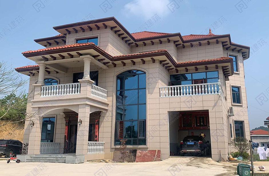 湖南娄底-最新豪华欧式外观的农村自建别墅设计图三层,复式带车库