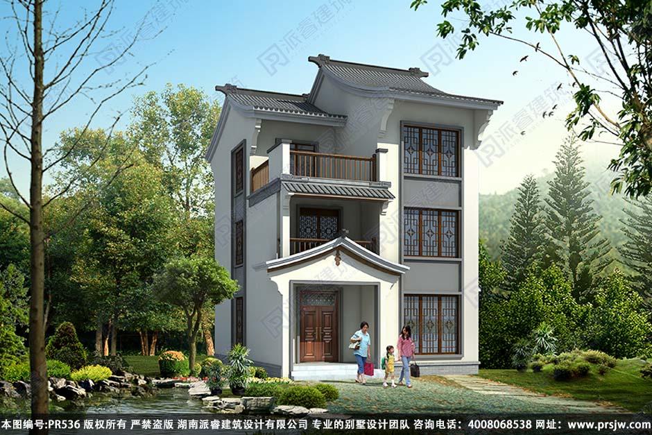 PR536-新农村中式别墅设计图_古色古香_中式别墅外观效果图三层