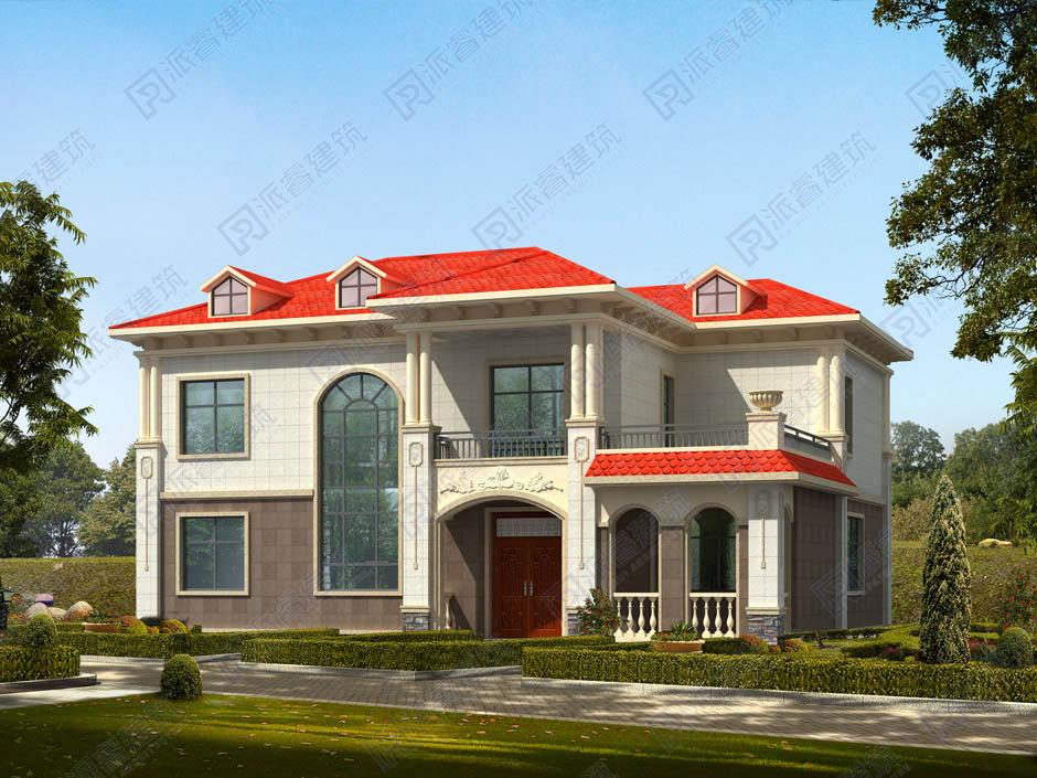 PR256 农村二层小别墅,复式客厅带大露台,实用美观别墅设计图片,新农村房屋设计,农村自建房别墅图片,派睿建筑