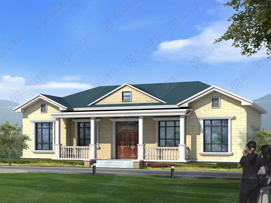 PR480-农村自建房设计图一层_3室朝阳_一层乡村小别墅外观效果图