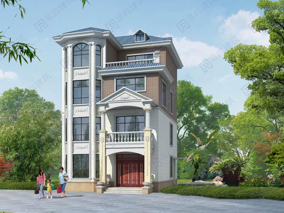 PR487-农村欧式四层复式别墅设计图_客厅挑空带旋转楼梯