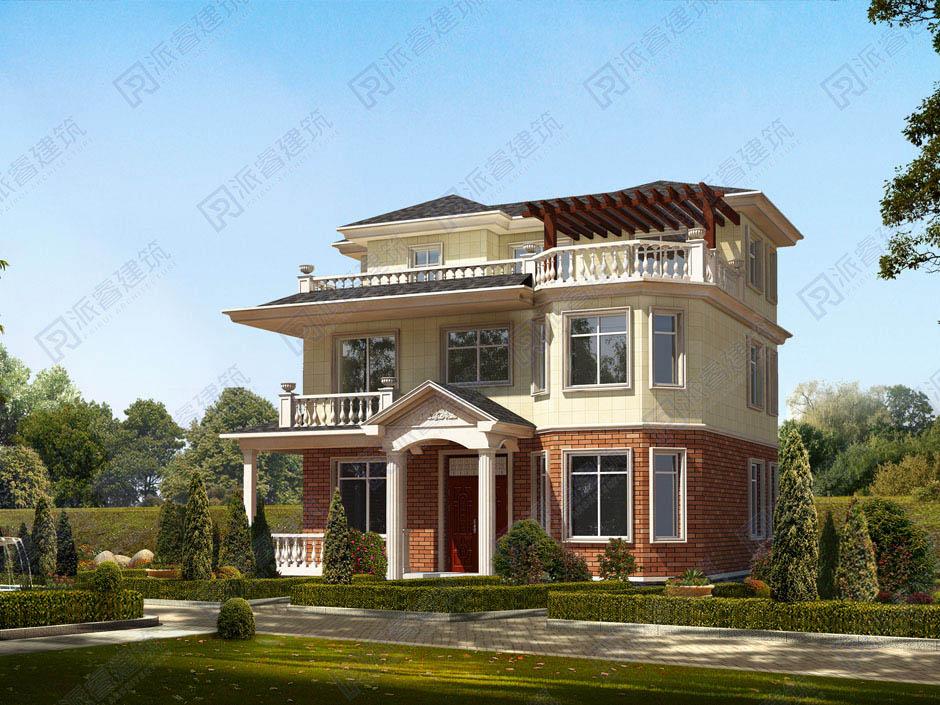PR169 农村三层复式客厅欧式别墅全套图,豪华小别墅,新农村别墅,农村自建房设计,派睿建筑