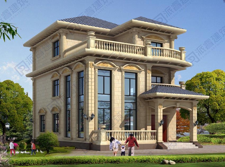 PR514-农村三层欧式别墅设计图纸_复式带旋转楼梯_农村三层复式别墅图片