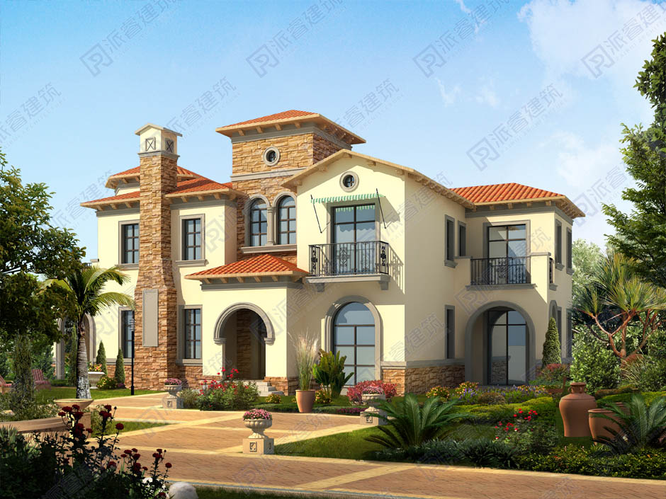 PR341-二层美式乡村别墅外观田园风格|200平米农村自建独栋别墅设计图纸