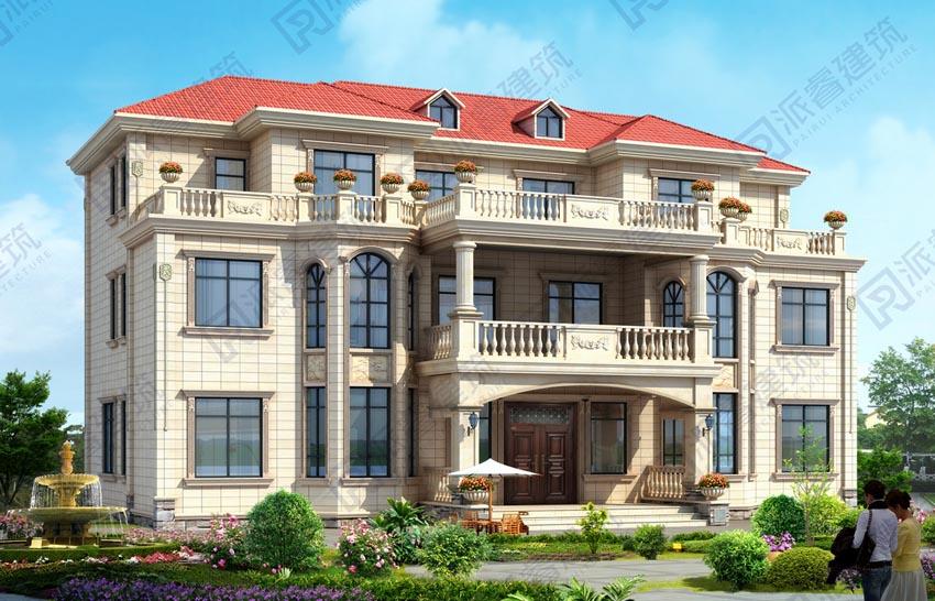 PR518-最新款三层双拼别墅_共用客厅_豪华双拼别墅设计图片