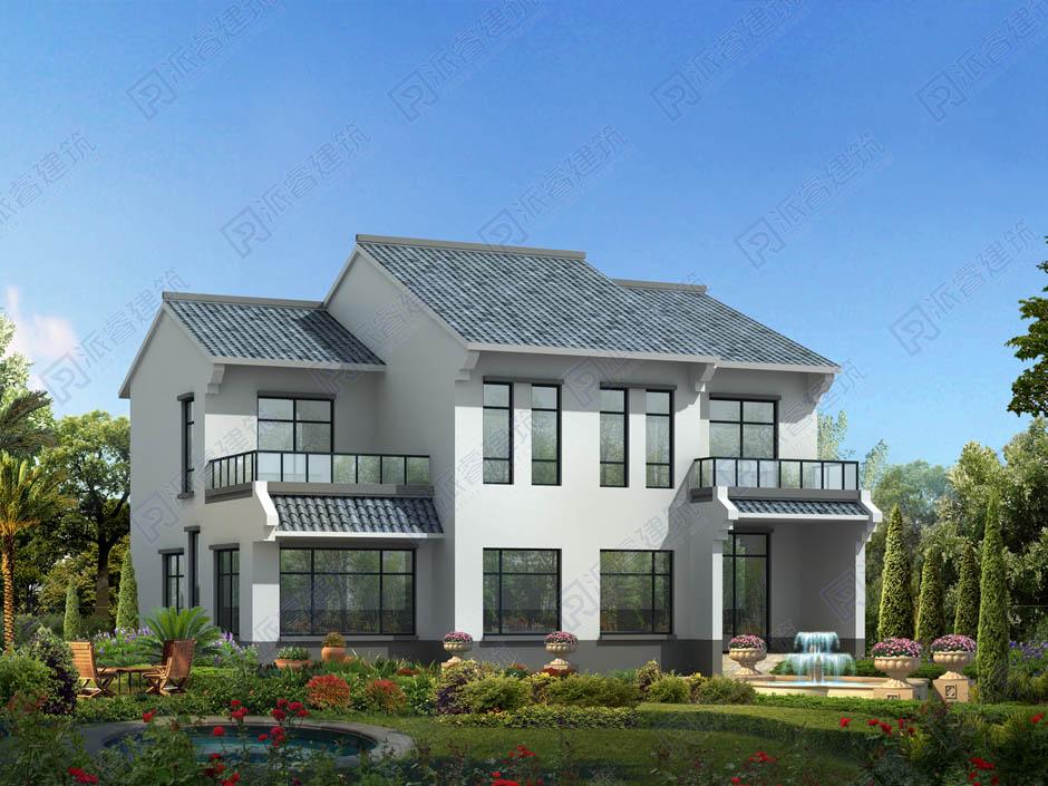 140平农村自建二层中式楼房设计图,青瓦白墙,错层人字形屋顶带两个露台-PR274