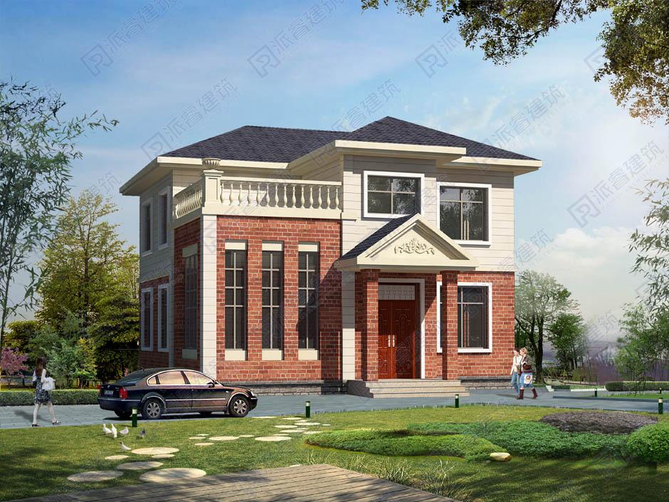 126平自建农村二层半复式楼房设计图纸及效果图,砖红色外墙别墅设计图-PR206