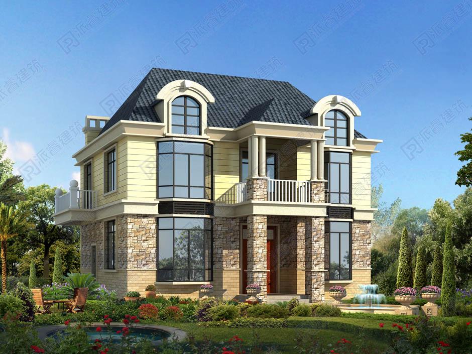 鄉村別墅設計圖紙,深12米寬9米自建房兩層半帶閣樓老虎窗的外觀效果圖-PR240