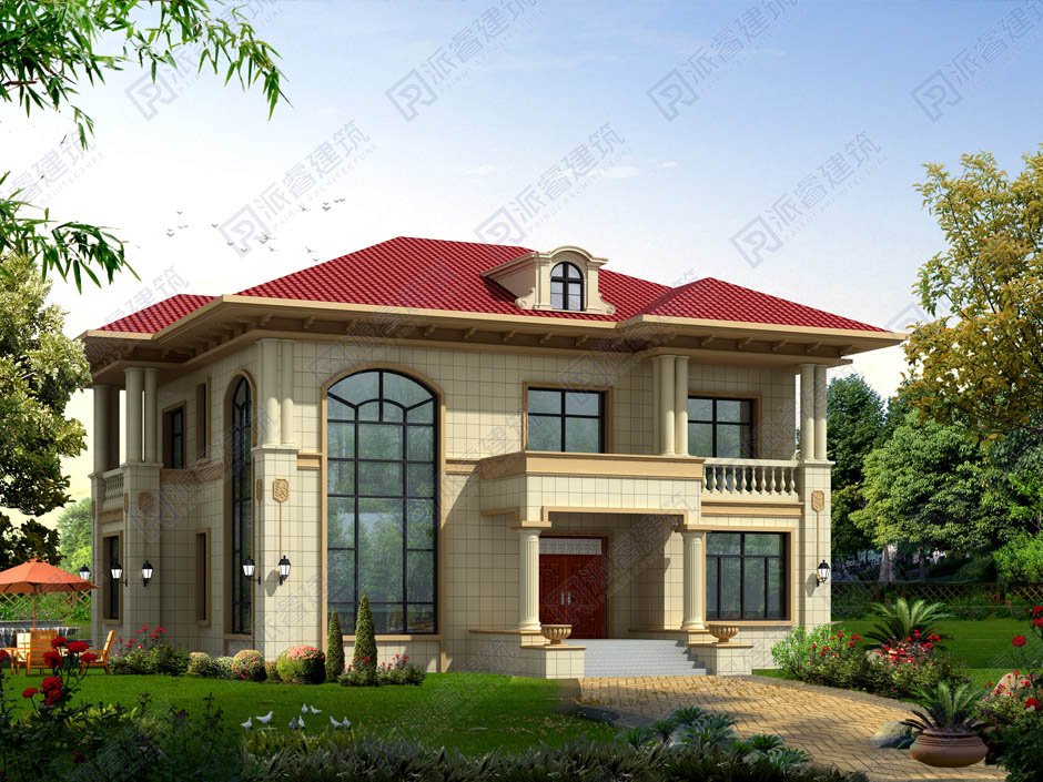 PR265 农村二层小别墅,简欧风格实用美观别墅设计图片,新农村房屋设计,农村自建房别墅图片,派睿建筑