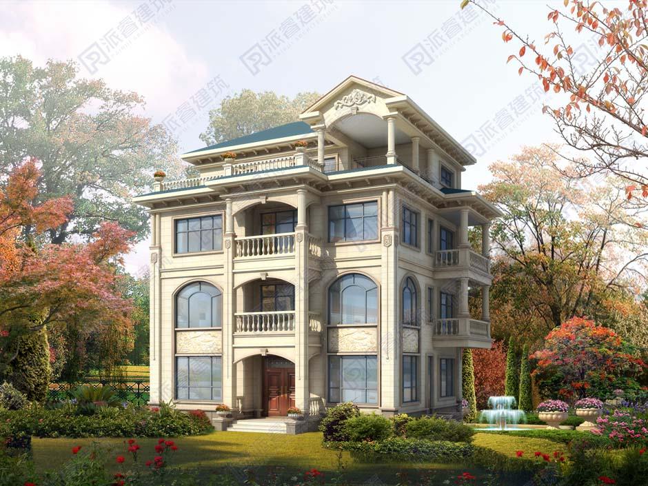 PR475-農村自建房設計圖四層|占地152平帶大露臺_法式豪華獨棟別墅設計圖