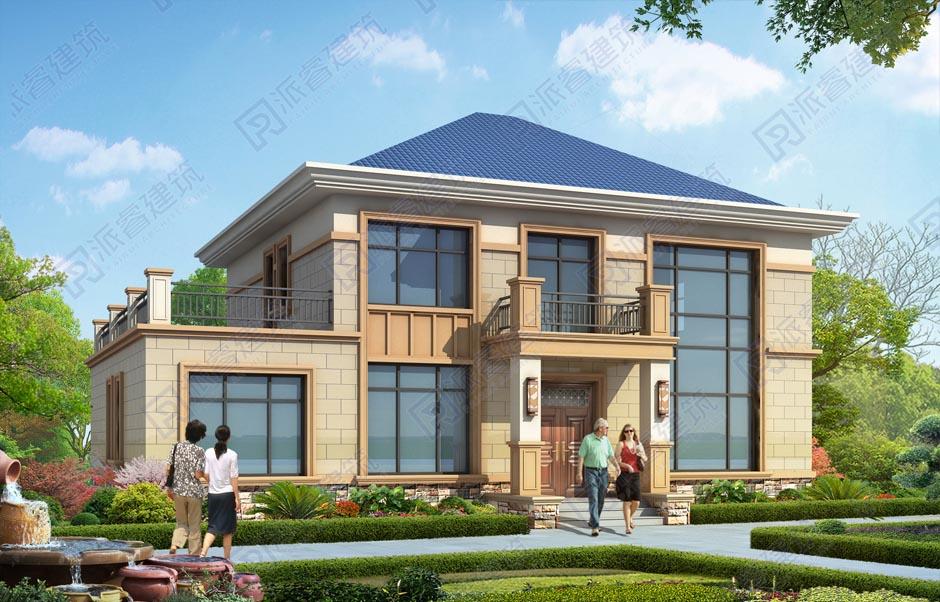 農村自建別墅圖紙設計圖二層復式帶露臺,詳細別墅戶型圖和效果圖,沉穩大氣-PR569