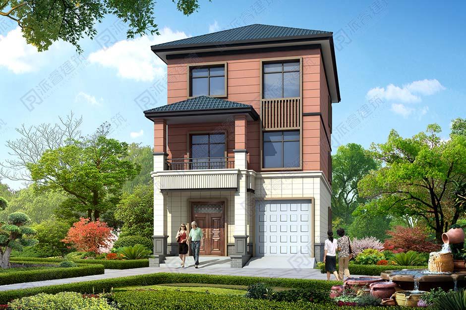 开间窄进深长的自建房屋设计图带堂屋和车库,占地80平三层小别墅-PR495