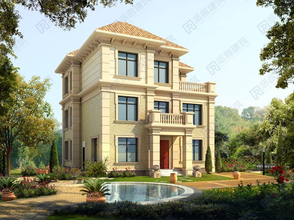 PR358-100平三层房子建筑设计图纸|农村自建三层欧式别墅-派睿建筑