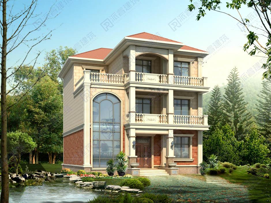 PR455 农村豪华欧式复式客厅别墅全套图纸_豪华别墅,新农村别墅,农村自建房设计,派睿建筑