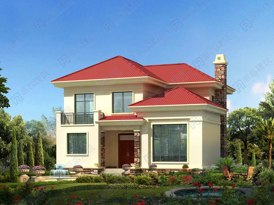 農村自建躍層小別墅二層田園風格,便宜又美觀的建房樣式圖片-PR235
