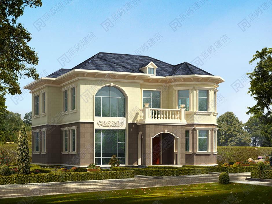鄉村二層獨棟別墅設計圖,歐式建筑風格復式小別墅外觀效果圖-PR226