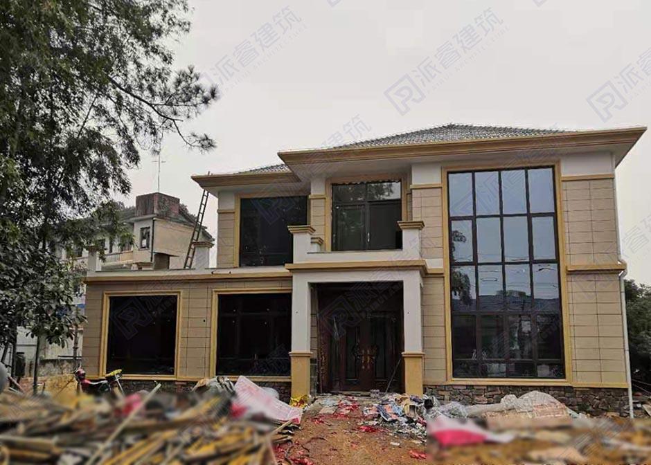 湖南宁乡-乡村二层复式小别墅设计图纸及效果图大全建成实景