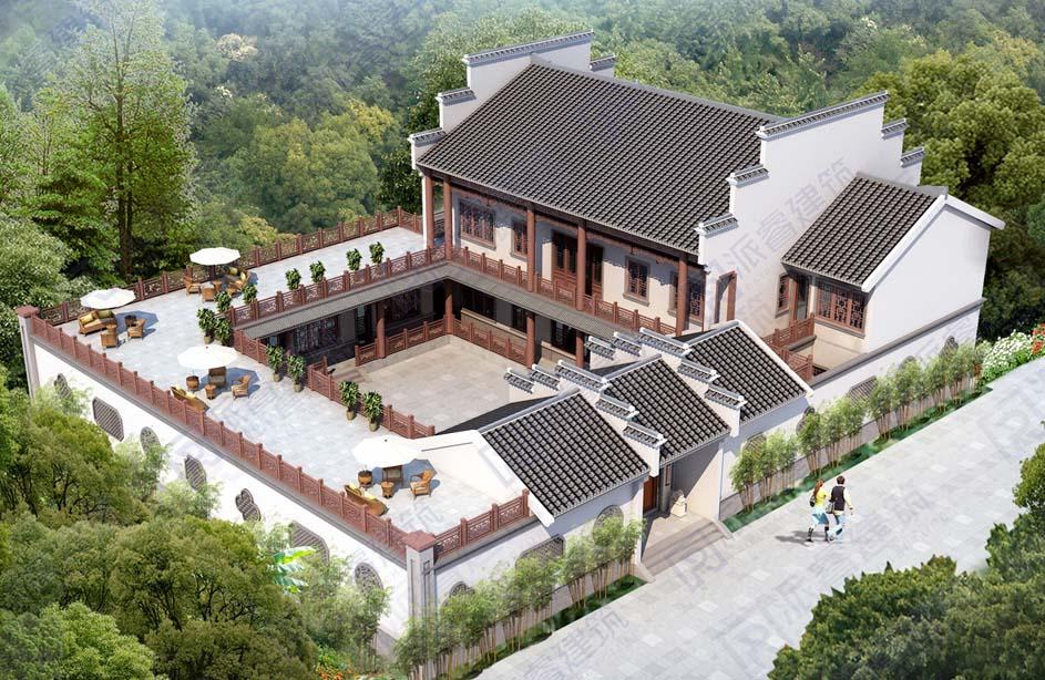 农村中式四合院别墅设计图片大全,徽派建筑设计图纸和效果图带空中庭院,四水归堂-PR547