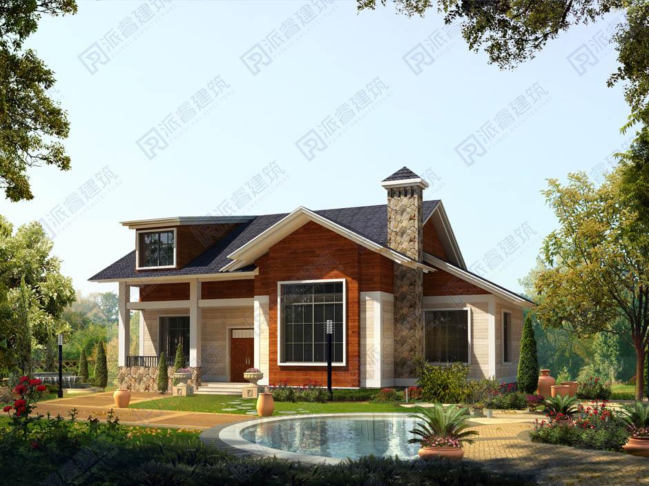 PR154 高端欧式农村一层半小别墅造价16万全套建筑设计效果图-派睿建筑