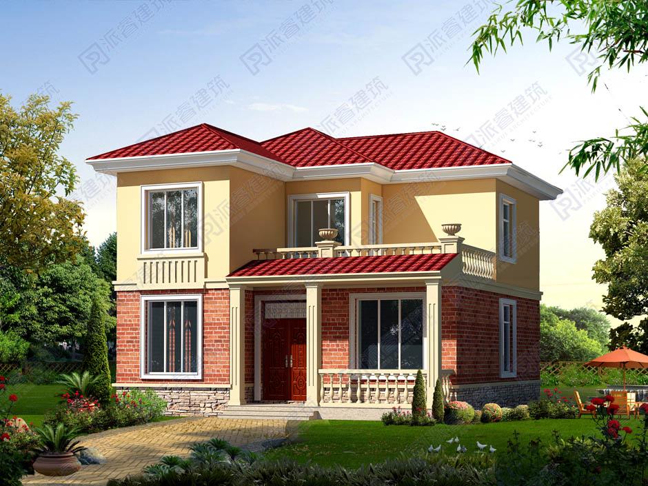 115平农村自建房设计图二层10米x11米,美式田园小别墅外观带露台,好看漂亮又经济实用-PR211