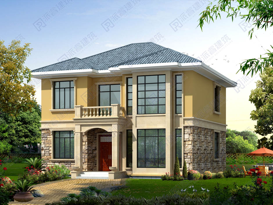 坐南朝北農村自建二間二層房屋設計圖,小兩層別墅戶型設計圖-PR253